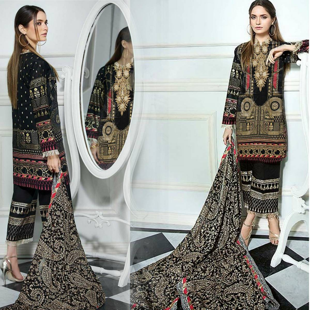 Black Golden Floret Embroidery and Printed UnStiched Fabric 3 Piece Lawn Suit for Women