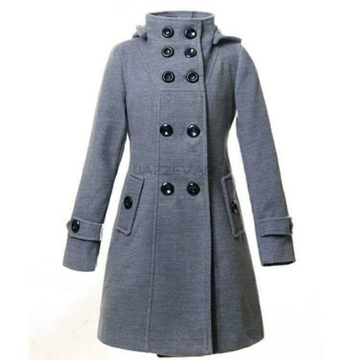 DM-Grey Fleece Trench coat for Women