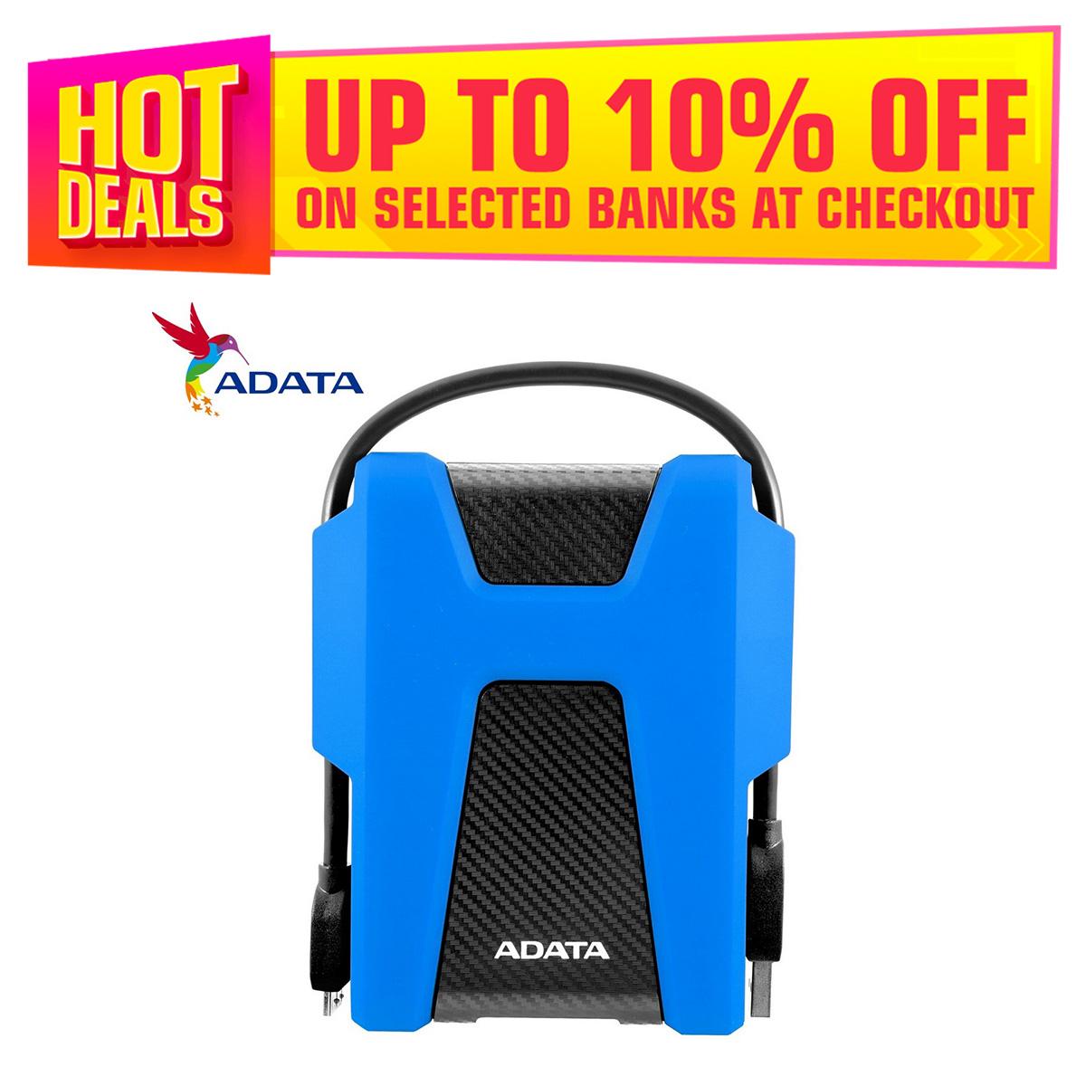ADATA 1TB HD680 USB 3.2 Gen1 Military-Grade Shock-Proof External Portable Hard Drive Blue