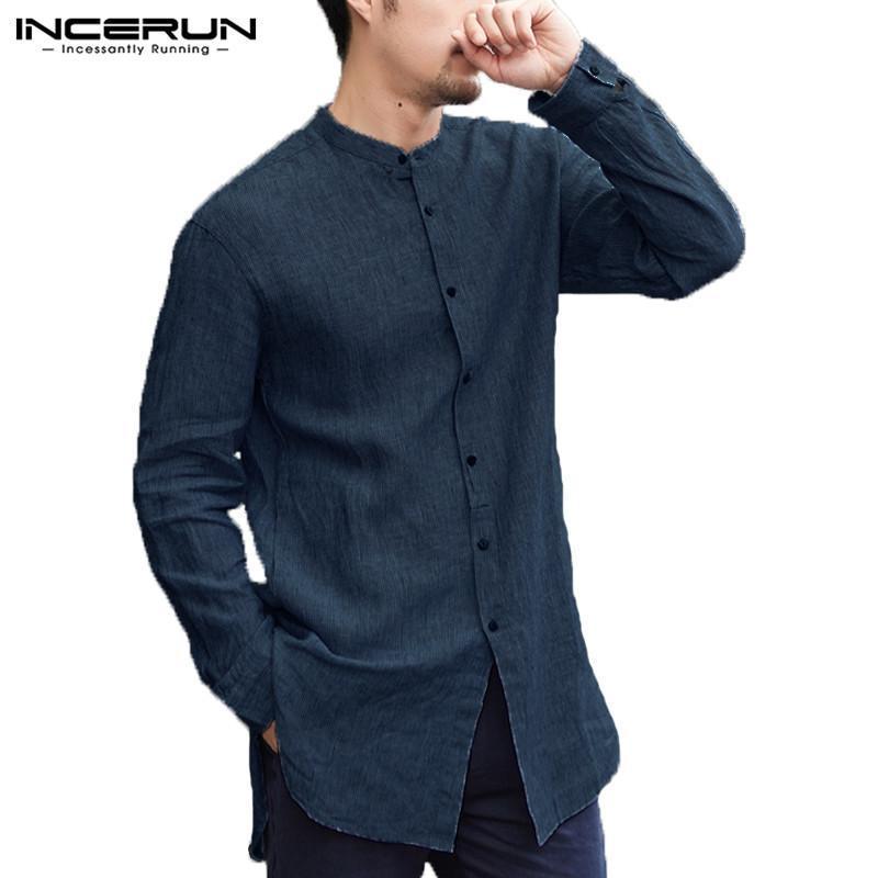 INCERUN Men Casual Shirt Linen Botton Down Long Sleeve Chinese Style Cotton Tops Shirts