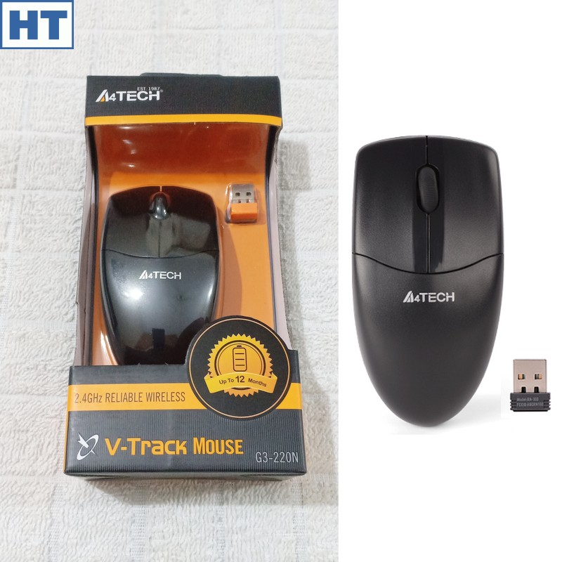 A4Tech Wireless Mouse (G3-220N) - 3 Buttons - 1000 dpi - V Track Optical - Classic Shape - (Black) - High Quality - Original with S/N