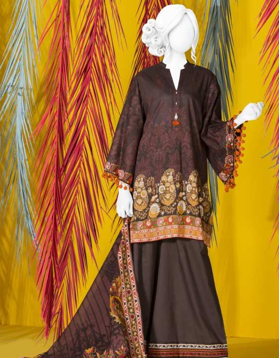 Junaid Jamshed Summer Collection 2019 Vol 2 Brown Unstitched - 3 PCs Suit for Women