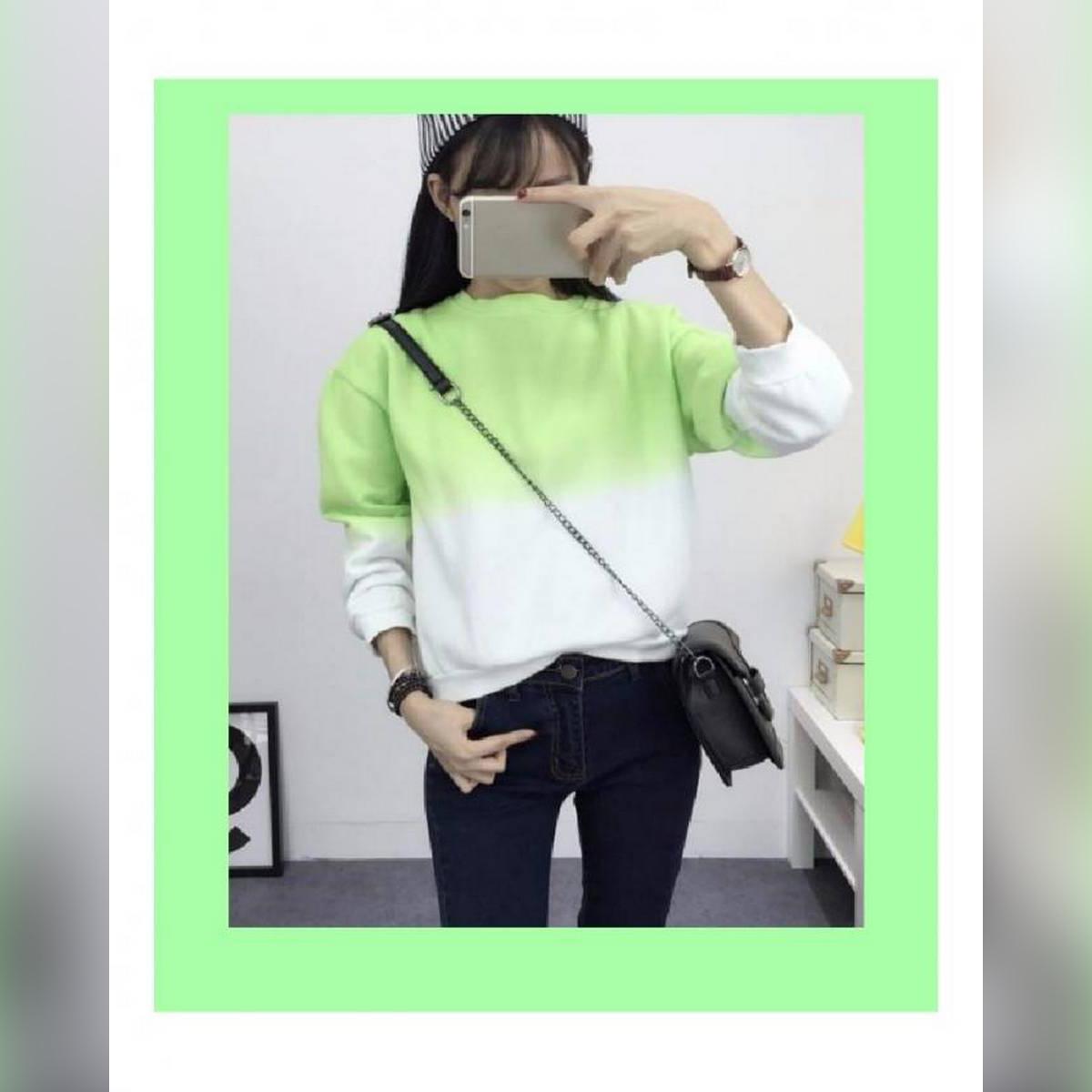 Green Ombre Sweat Shirt For Women