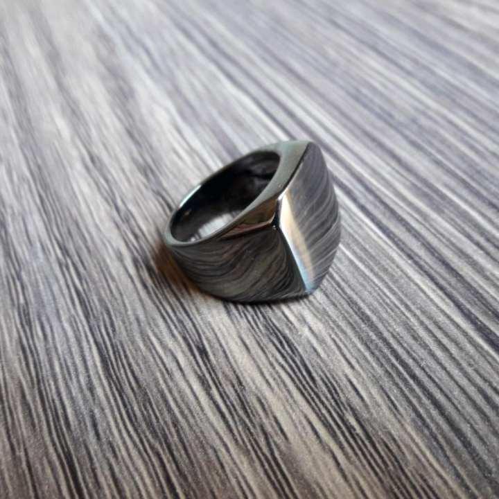 GOLDEN LIGHT Grey Chrome Titanium Ring for Men