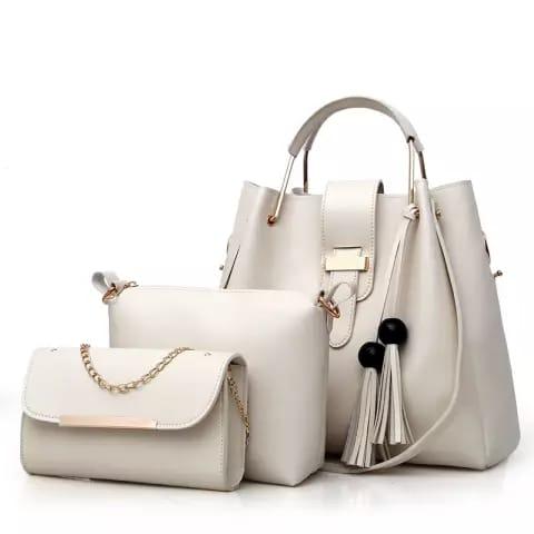 3Pcs PU Leather Tote Shoulder Handbags Soft Leather Quality & Multicolor Bags