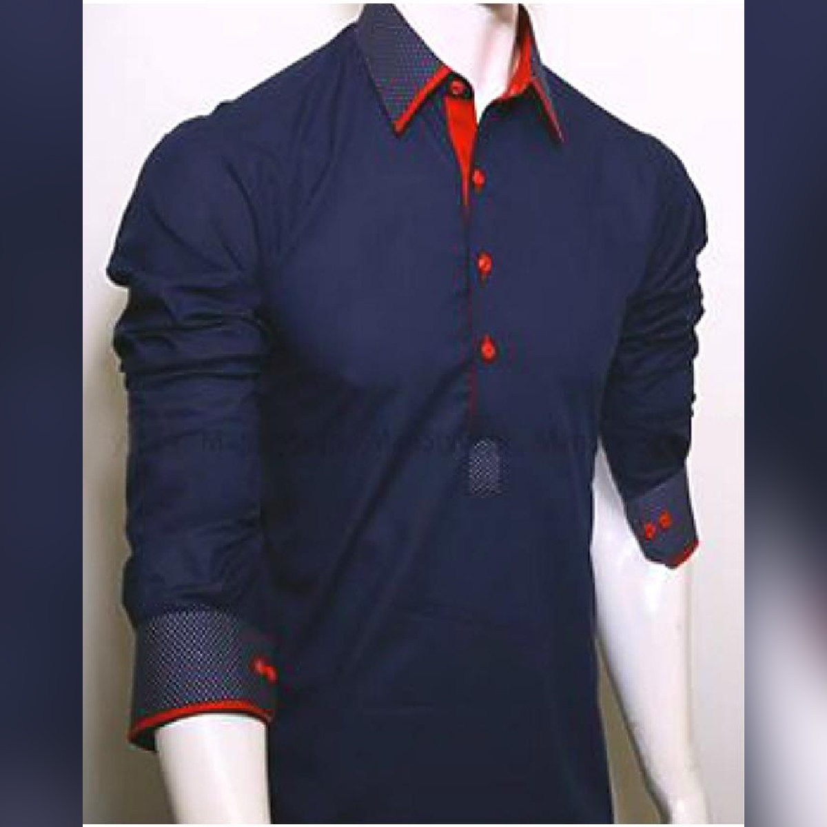 Navy Blue Wash And Wear Kurta With White Shalwar For Men Traditional Kameez Shalwar Collection