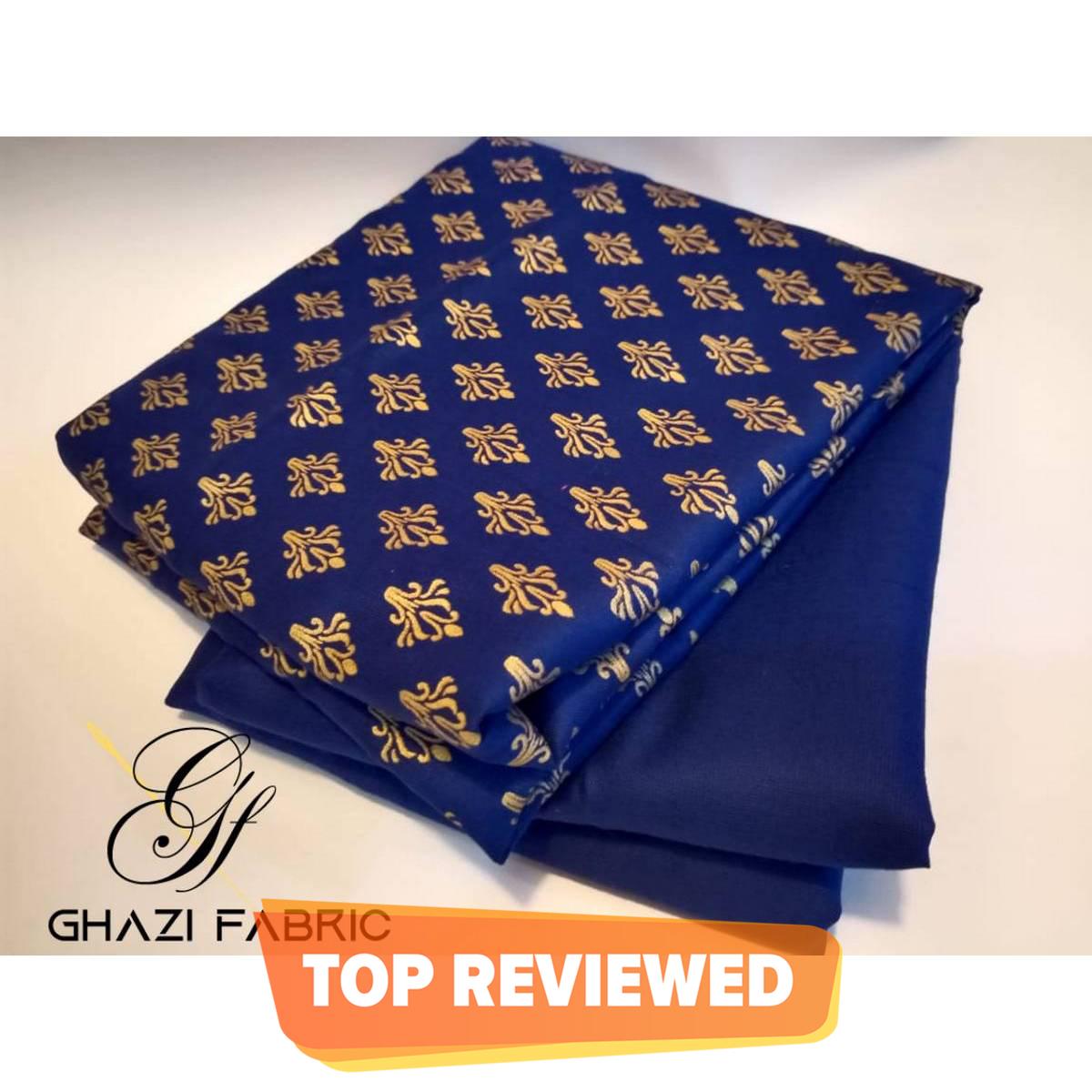 Ghazi fabric  Premium Quality Gold Printed Fabric linen collection unstich printed shirt & plain trouser Fabric 2 pc Royal blue  (gf3433)