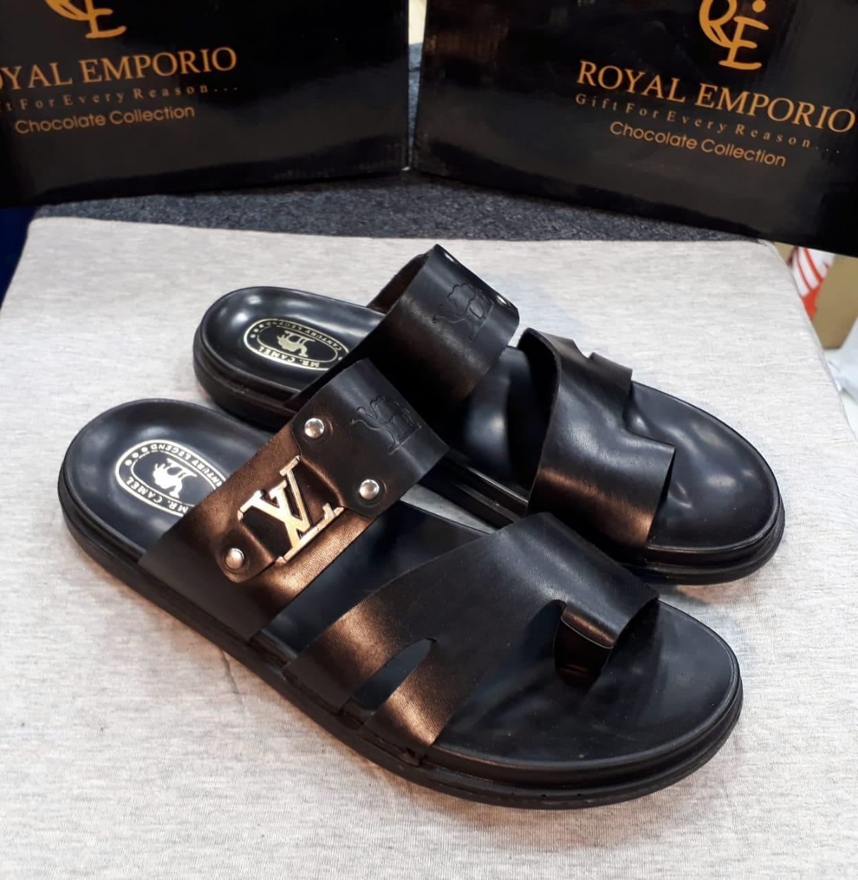 wholesale dealer 5e115 36c10 (IMPORTED) SIMPLE BLACK LEATHER SLIPPERS FOR MEN