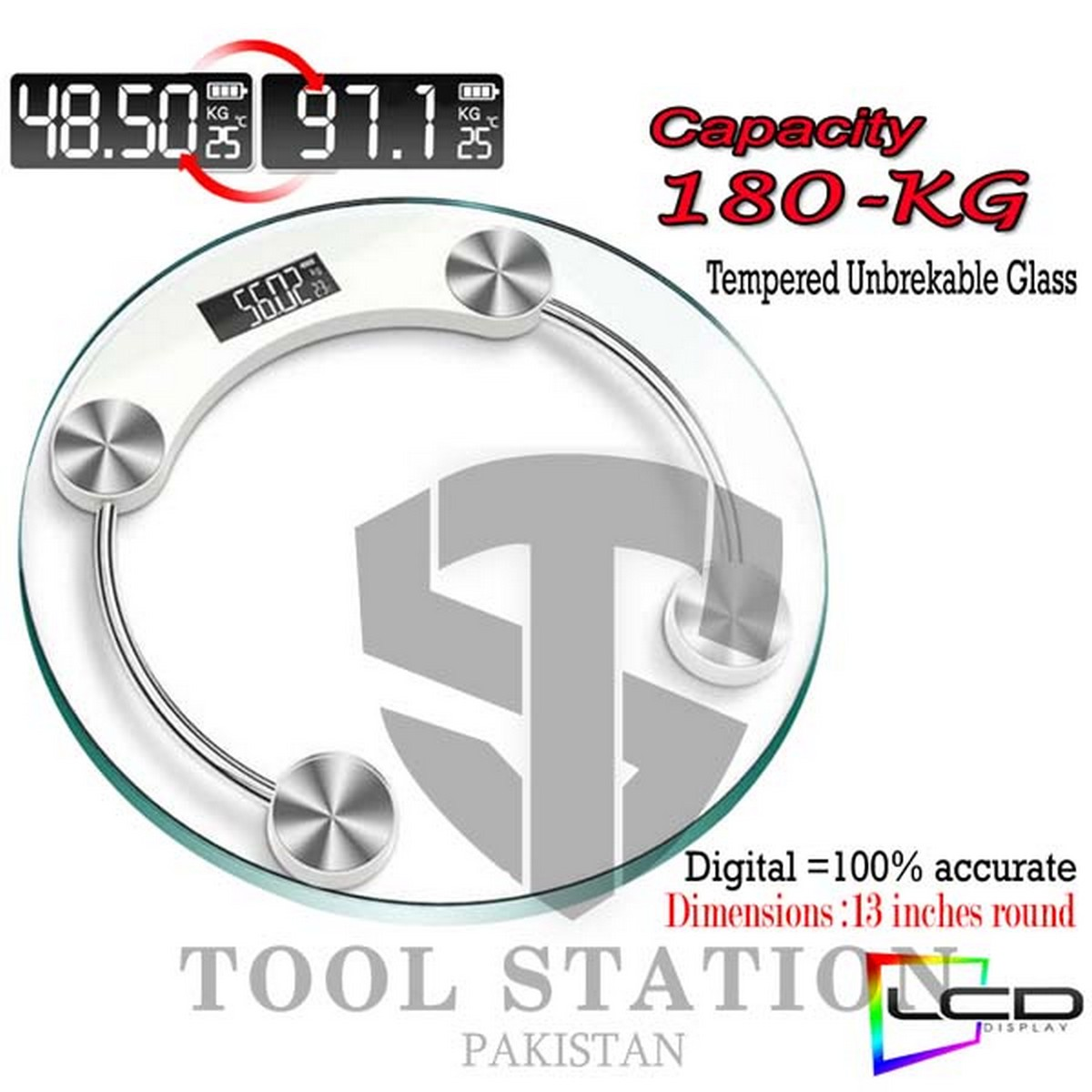 Tempered 8mm Glass Digital Body Weight Scale Bathroom Scale 180 KG with LCD Display Weight Machine