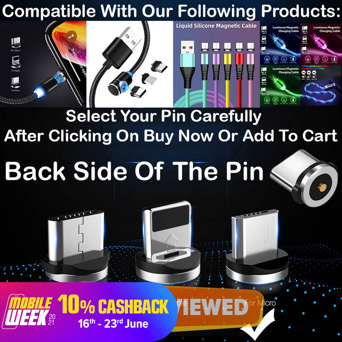 Original Magnetic Fast Charging Pin Only - Micro USB Android - iPhone - Type C
