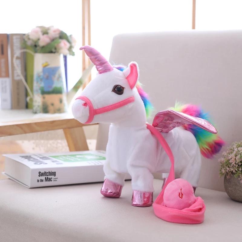 Lovely 35cm Electric Walking Unicorn Plush Toy Stuffed Animal Toy Electronic Music Unicorn Toy for Children Funy  Gifts