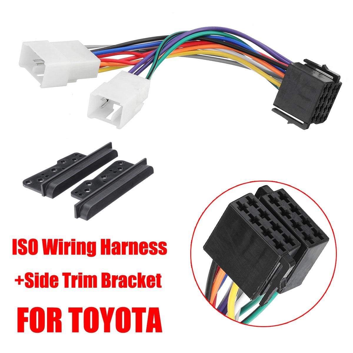 Car Side Trim Bracket Din Dash Facia Fascia Kit +ISO Wiring Harness For  Toyota