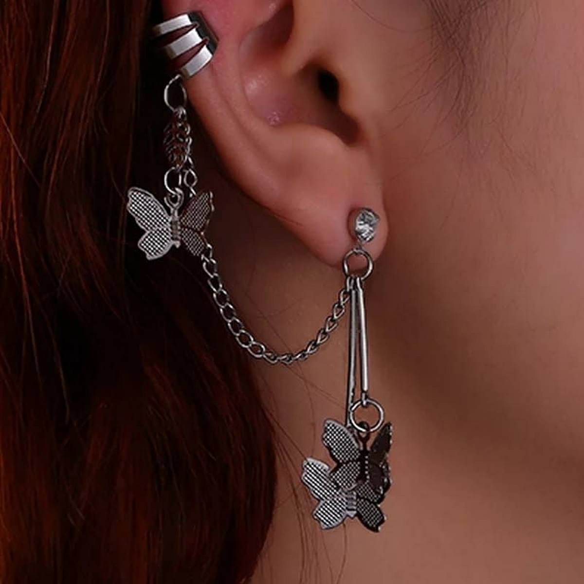 earcuff 1pcs right side  Fashion For Women Butterfly Ear Clips Women Girls Earrings Jewelry