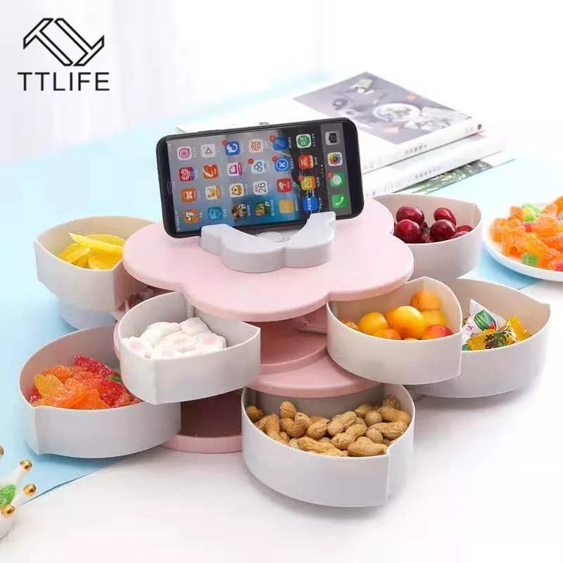 Creative Flower Petal Fruit Plate Candy Storage Box, Nuts and Dried Fruit Gift Box, Plum Blossom Rotating Fruit Bowl with Mobile Phone Holder, Party Snacks Serving Tray (Pink, 38CM)