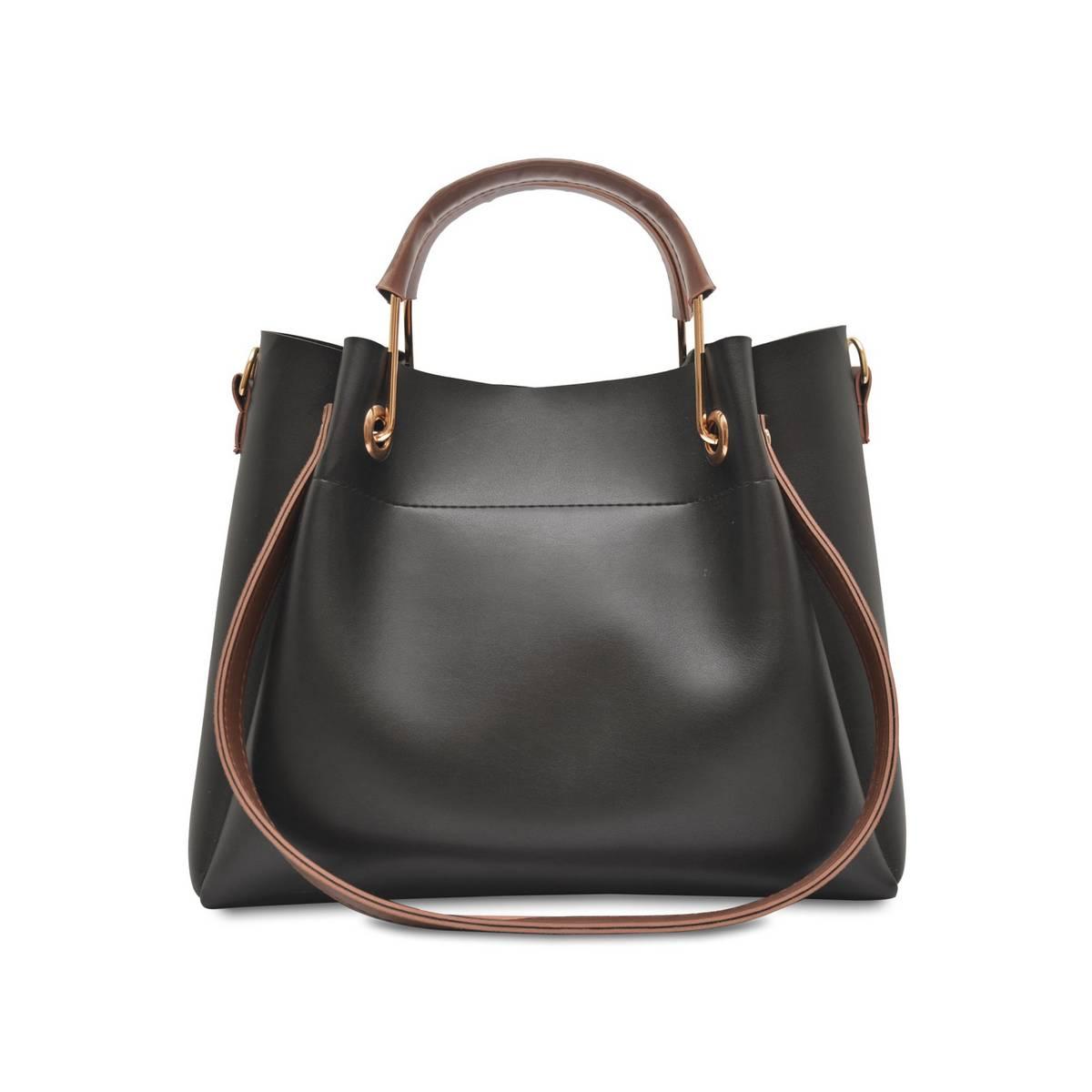 Astore Black Adjustable Long Strap Emerald Faux Vegan Leather Handbags and Shoulderbag