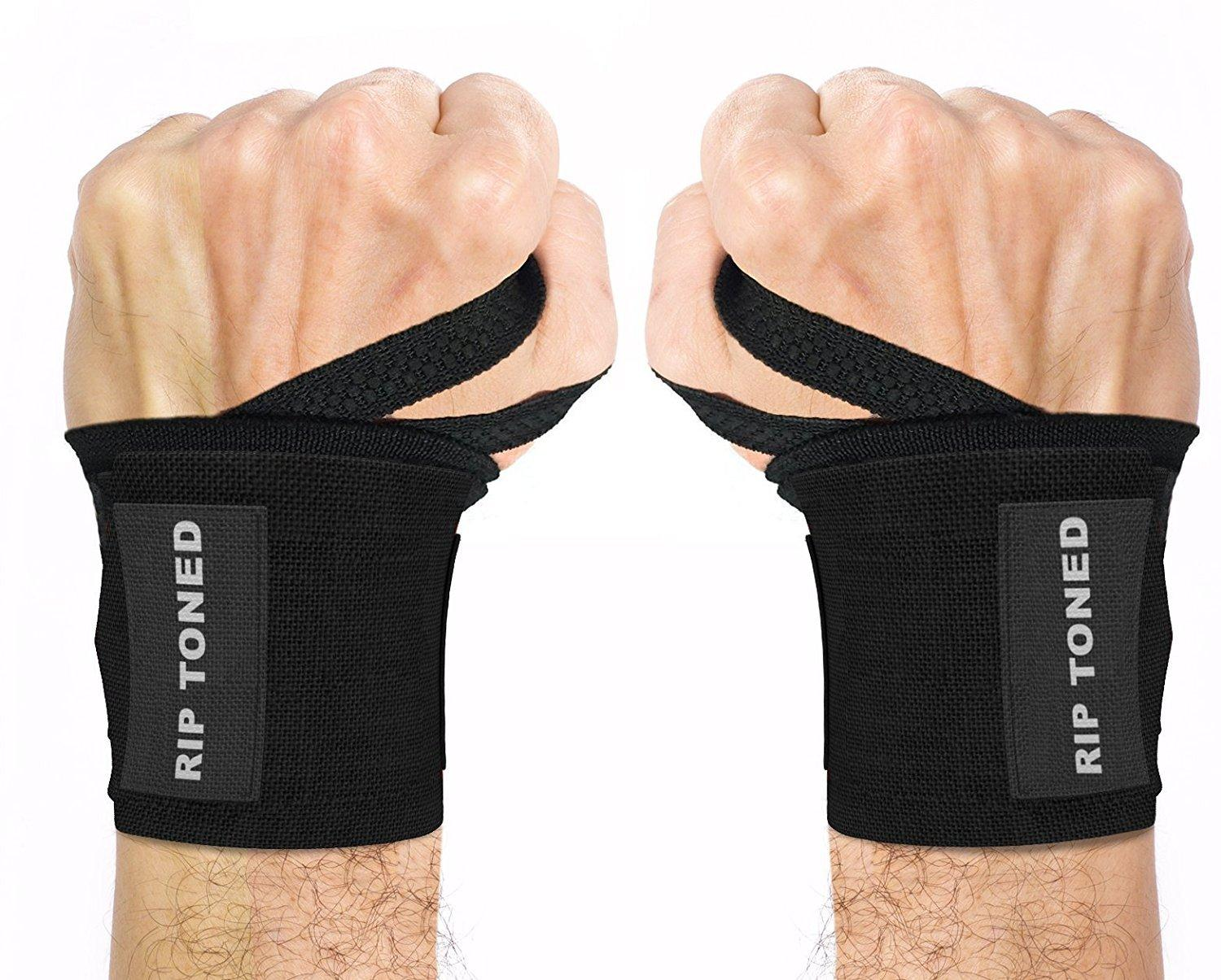Wrist Wraps by Rip Toned - 18  Professional Grade With Thumb Loops - Wrist Support Braces for Men & Women - Weight Lifting