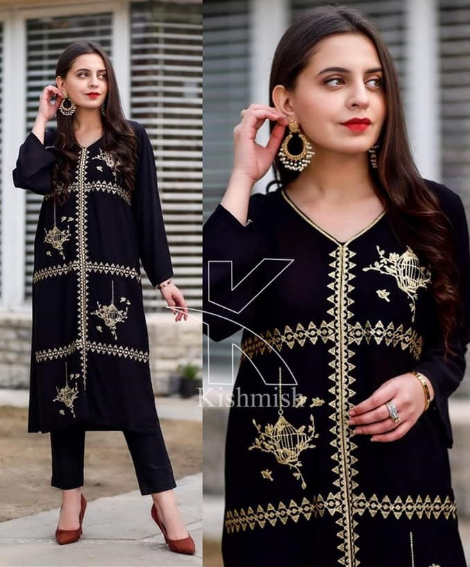 Kishmish Pinjra Embroidered 2 Piece Suit For Girls (Kurti+Trouser) Kishmish 2 Piece Suit For Women/Girls