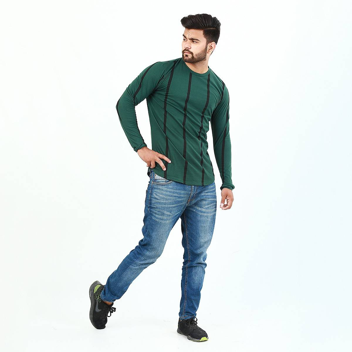 Long Sleeves Vertical Striped Printed Tshirts For Men