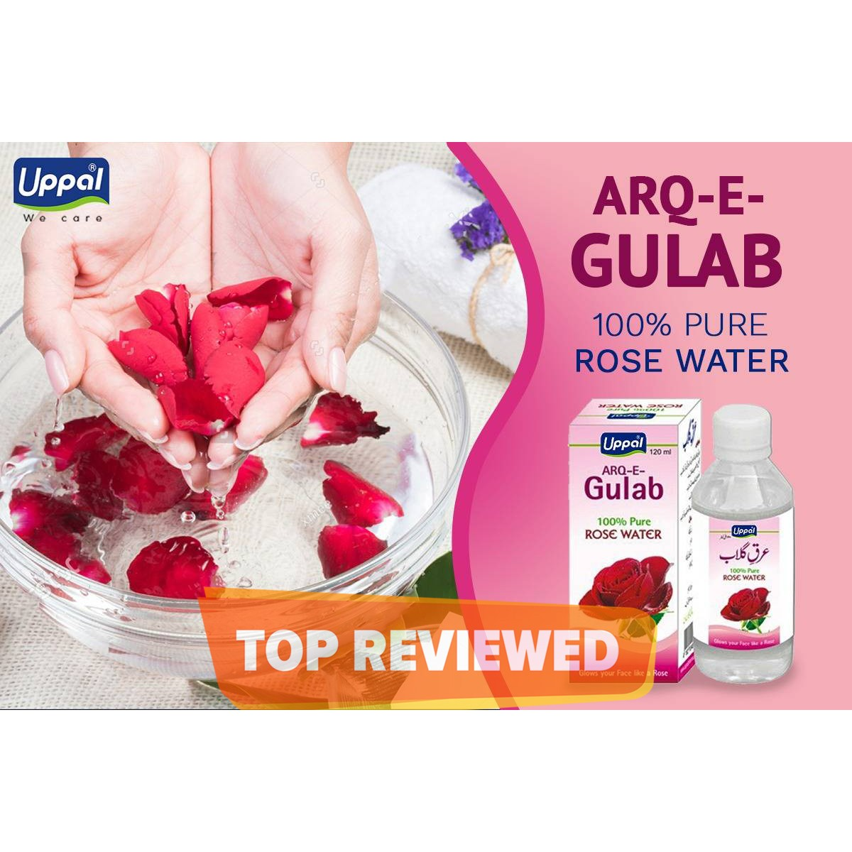Rose Water Pure Arq e Gulab refreshes the face and skin