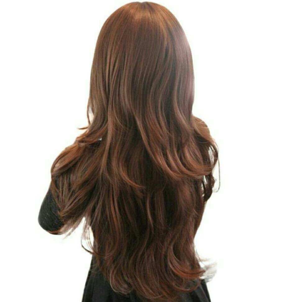 Full head lace hair cap wig Brown long