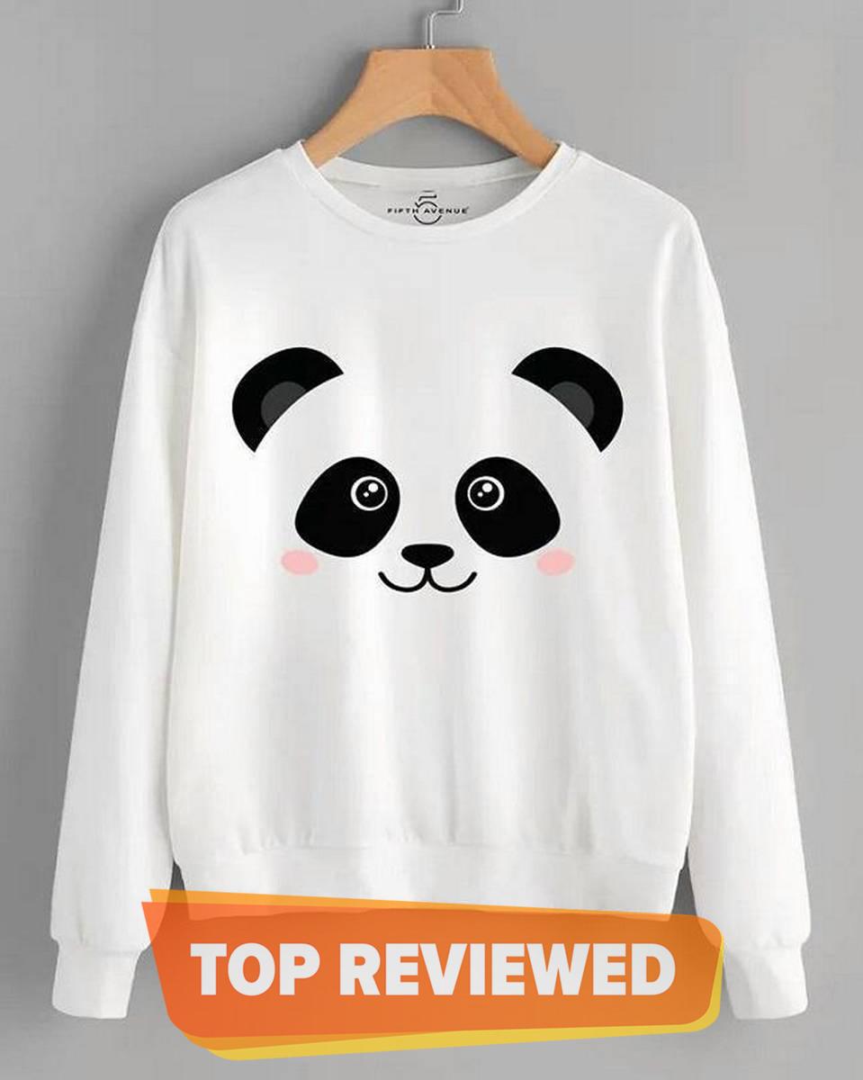 Panda Printed Swat Shirt For Girls And Women