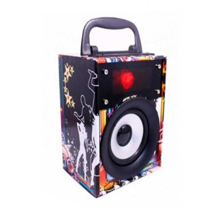 Portable MP3 Player Speaker Rechargeable Usb FM Aux Supported Hifi Sound Bass With Musical Led Lcd Display Multicolour