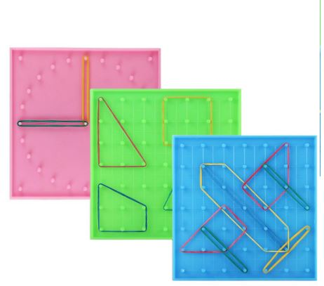 Double Sided Peg Geoboard Rubber Tie Graphics Learning Kids Educational Toy