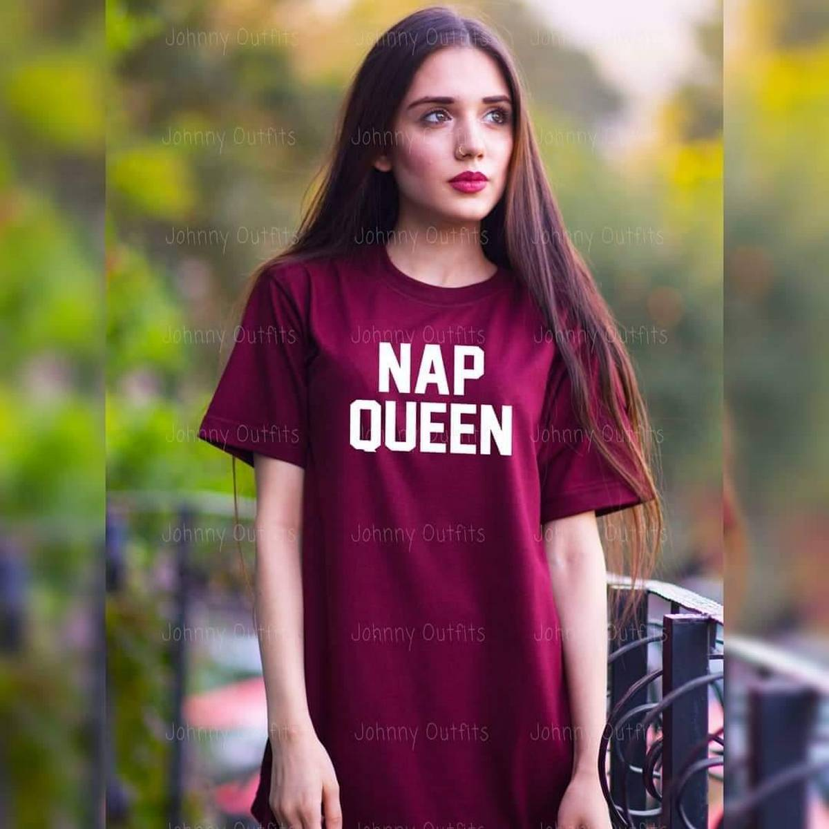 Nap Queen Women Tshirt Cotton Funny Casual Lady White Black Gray Top Tees - Maroon