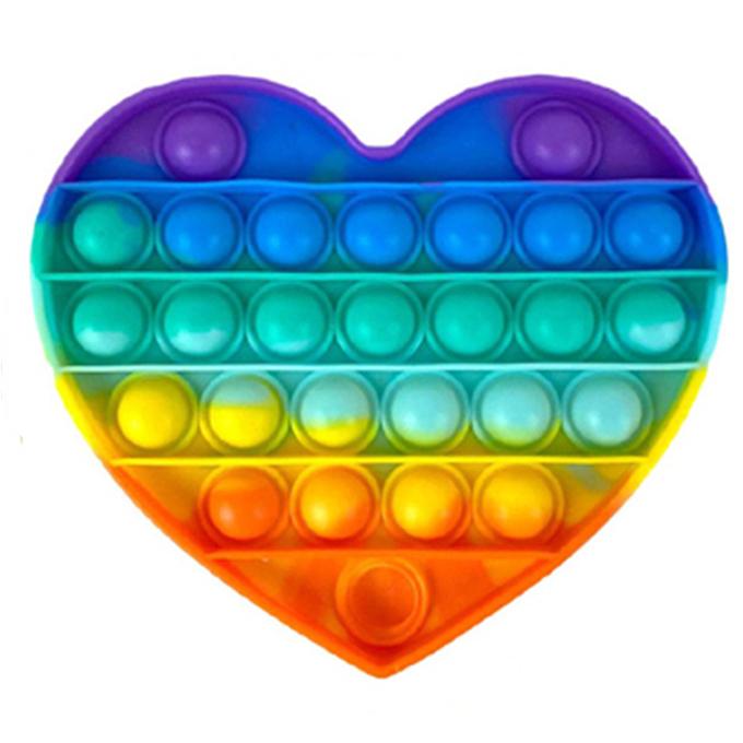 POP Bubble Squeeze Sensory Fidget Toy Pop It Fidgit Toy Rainbow Heart