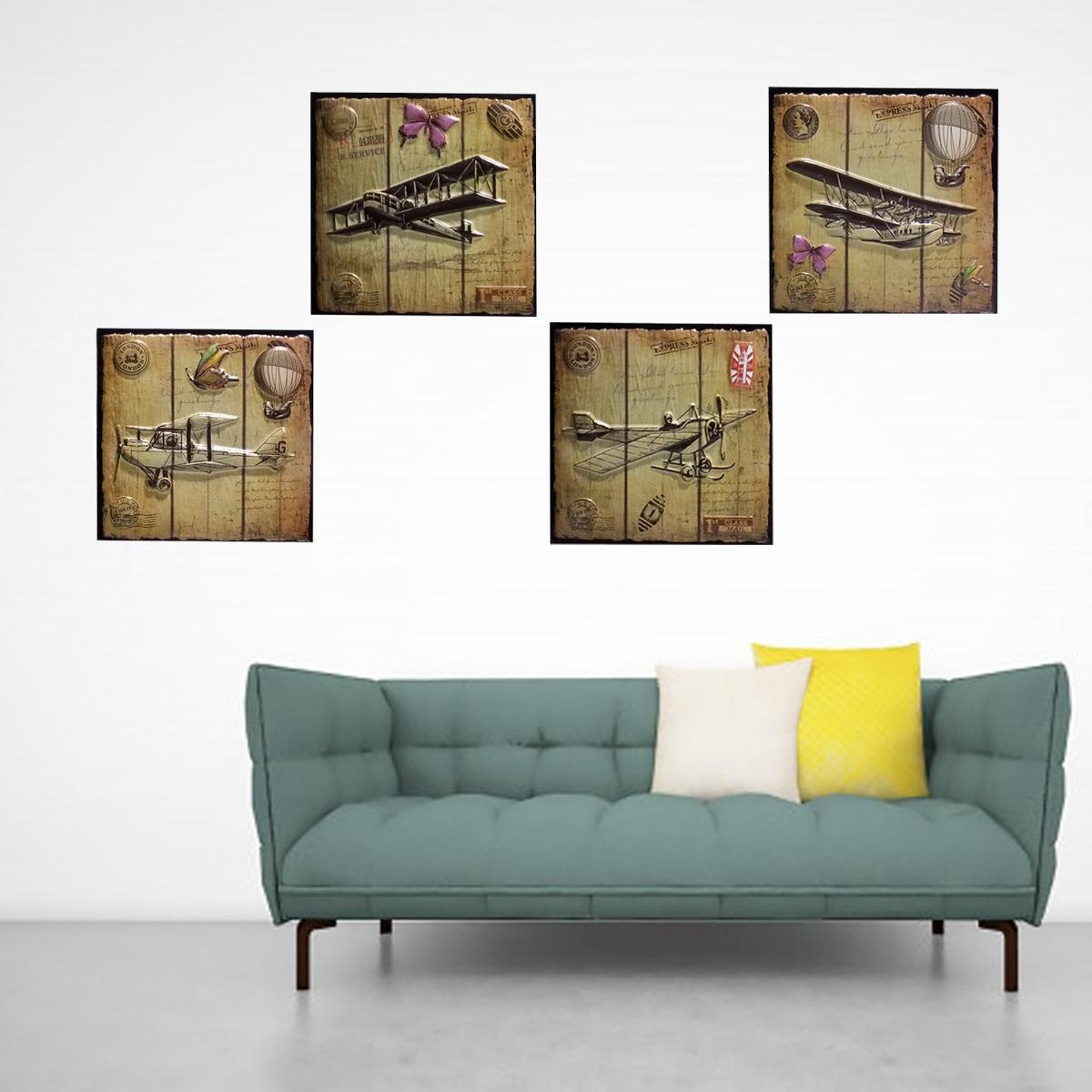 Antique Aircraft Home Room Wall Decor 3D Sticker Creative Art Posters Stickers Decals