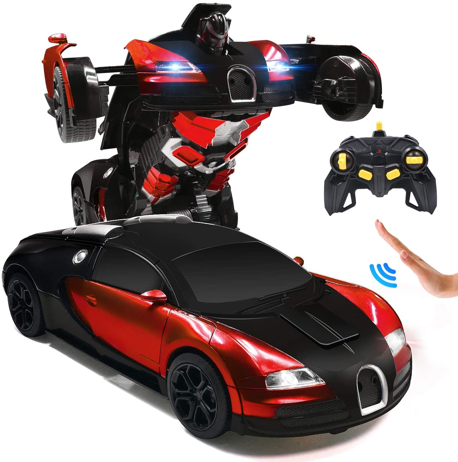 Gesture Control Transformer Car RC Cars Robot for Kids, Remote Control, Transform robot Gesture Sensing Toys with One Button Deformation and 360 ° Rotation, 1:14 Scale, Best Gift for Boys and Girls