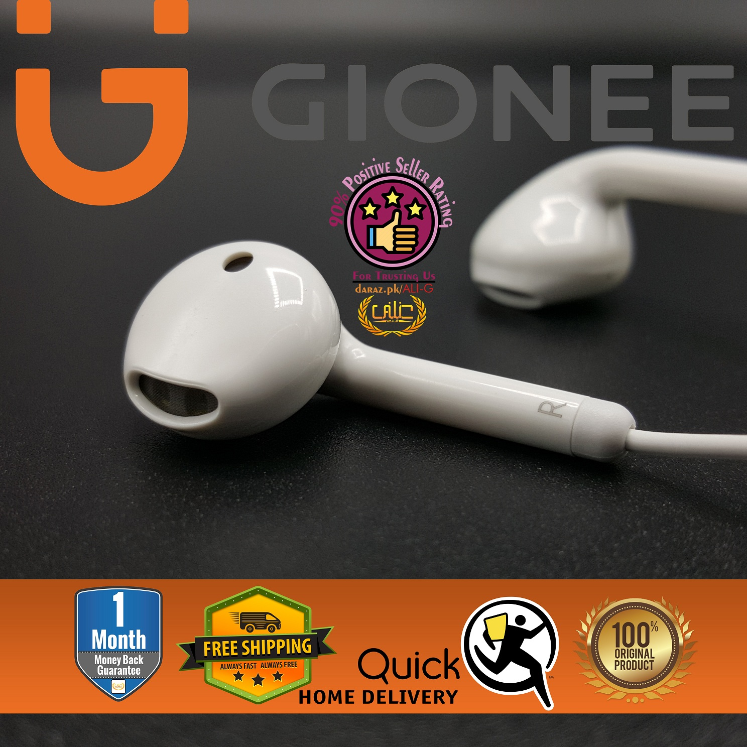 Gionee Original Wired Earphone Mobile Handsfree for Gaming PUBG Music Bass Hand Free with Mic Handfree for Girls Boys - White - 100% Original