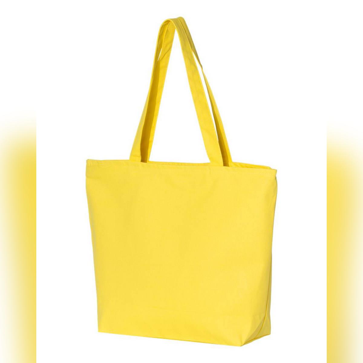 Women Durable Canvas Zipper Tote Bag Large Capacity Handbag Casual Shoulder Shopper - BLACK