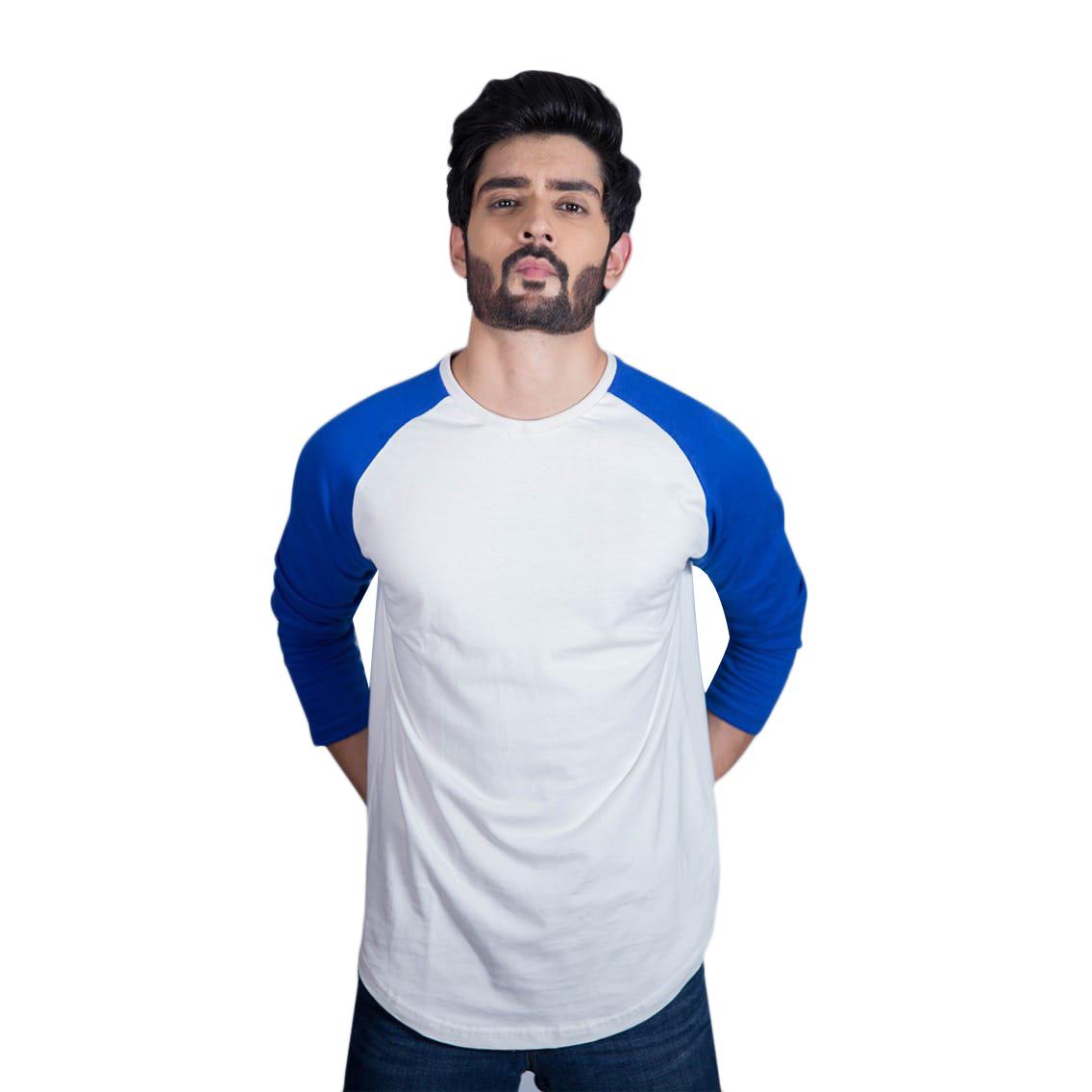 Surteez Raglan Full Sleeve tshirts for men- Soft Jersey Cotton long sleeves t shirt for men | Black White Raglan t shirt | Navy  Blue Grey Raglan