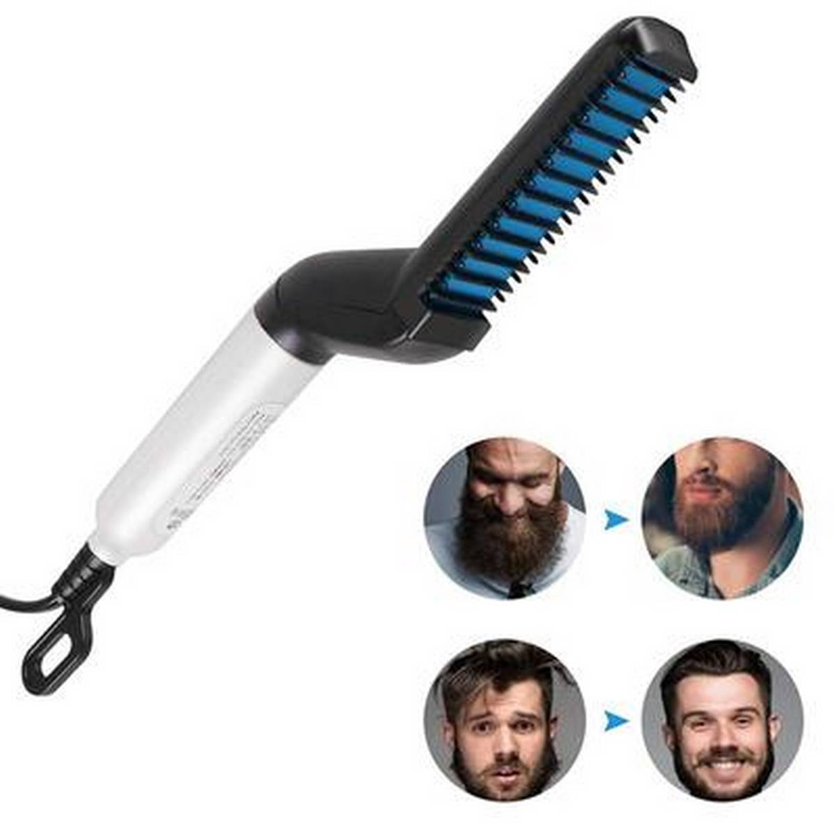 Electric Beard Straightener for Men - Professional Quick Styling Comb for Frizz-Free Beard Hair - Ceramic Ionic Heating Control - Portable Brush with Anti-Scald Feature