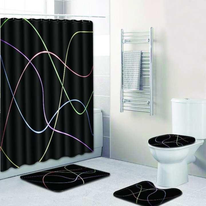 Poplikdfr 4Pcs/Set Non-Slip Printing Toilet Rug Cover Bath Mat + Shower Curtain Set