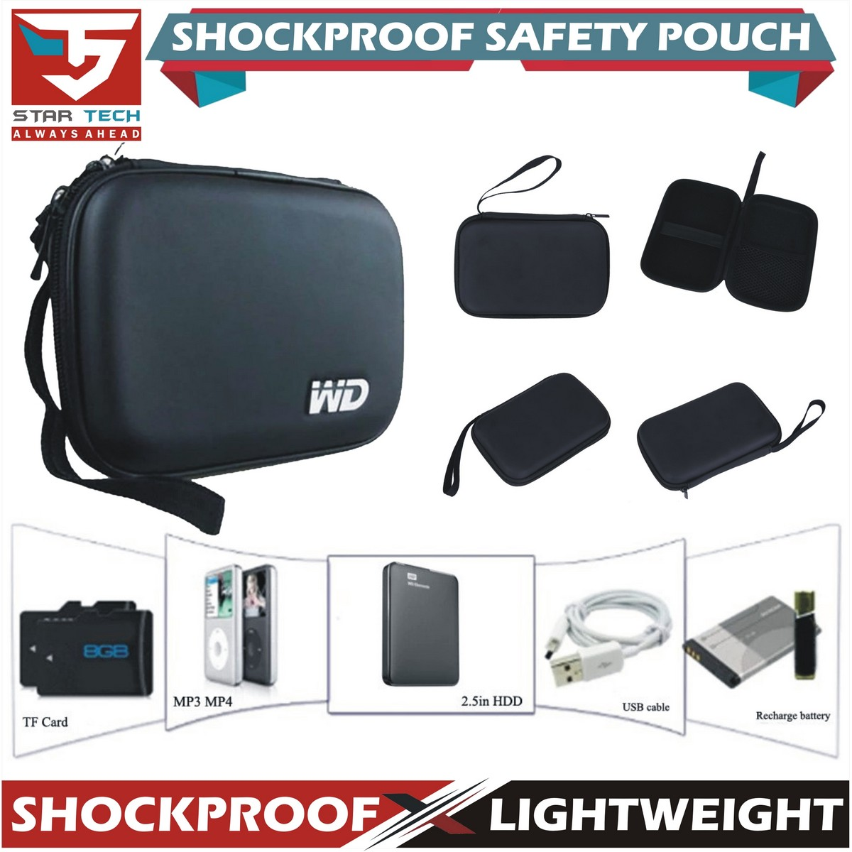 WD Shockproof Hard Carrying Case Bag For 2.5'' External HDD Hard Drive