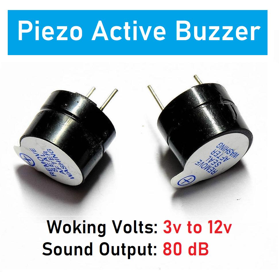 Pack of 2 - Piezo Active Buzzer 3V To 12V Magnetic Long Continous Beep Tone Alarm Ringer 5V 12V for DIY BreadBoard Arduino