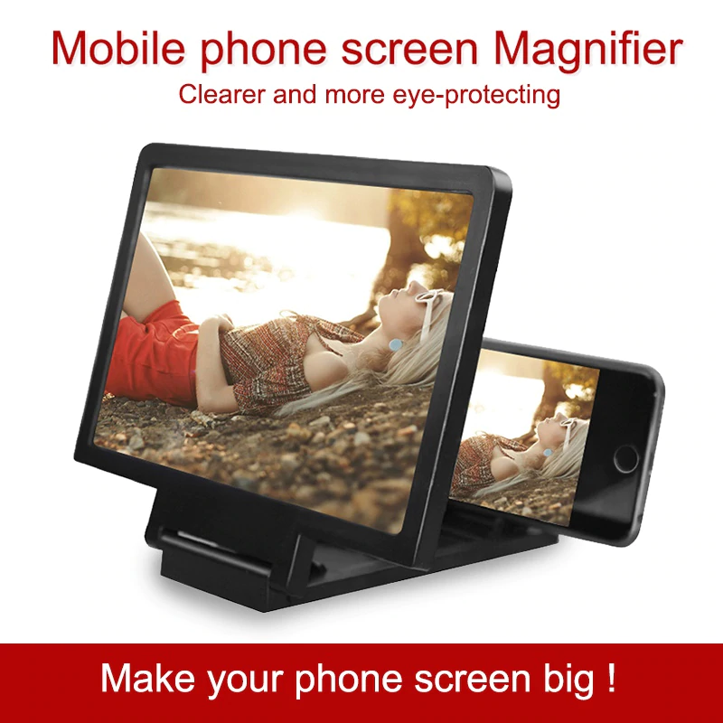 F1 Mobile Phone 3D Screen Magnifier Video Screen Amplifier Big Screen High Definition Projector Foldable Screen Magnifier Bracket with Eyes Protection Foldable Stand Holder Expander for Videos / Movies Compatible with All Smartphones