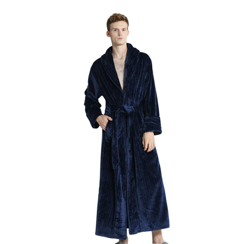 Fast Forward Sleep Sets Pajamas Men Dressing Gown Luxury Bathrobe Winter Full Length Housecoat Color Navy