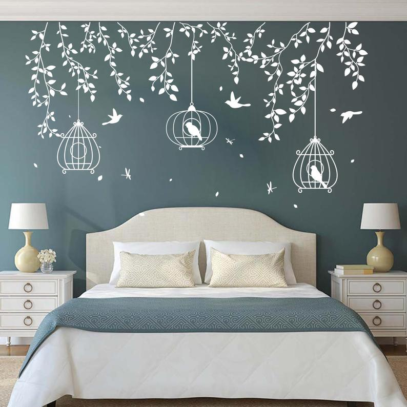 Large Tree Birdcage Leaves Wall Sticker Bedroom Sofa Forest Nature
