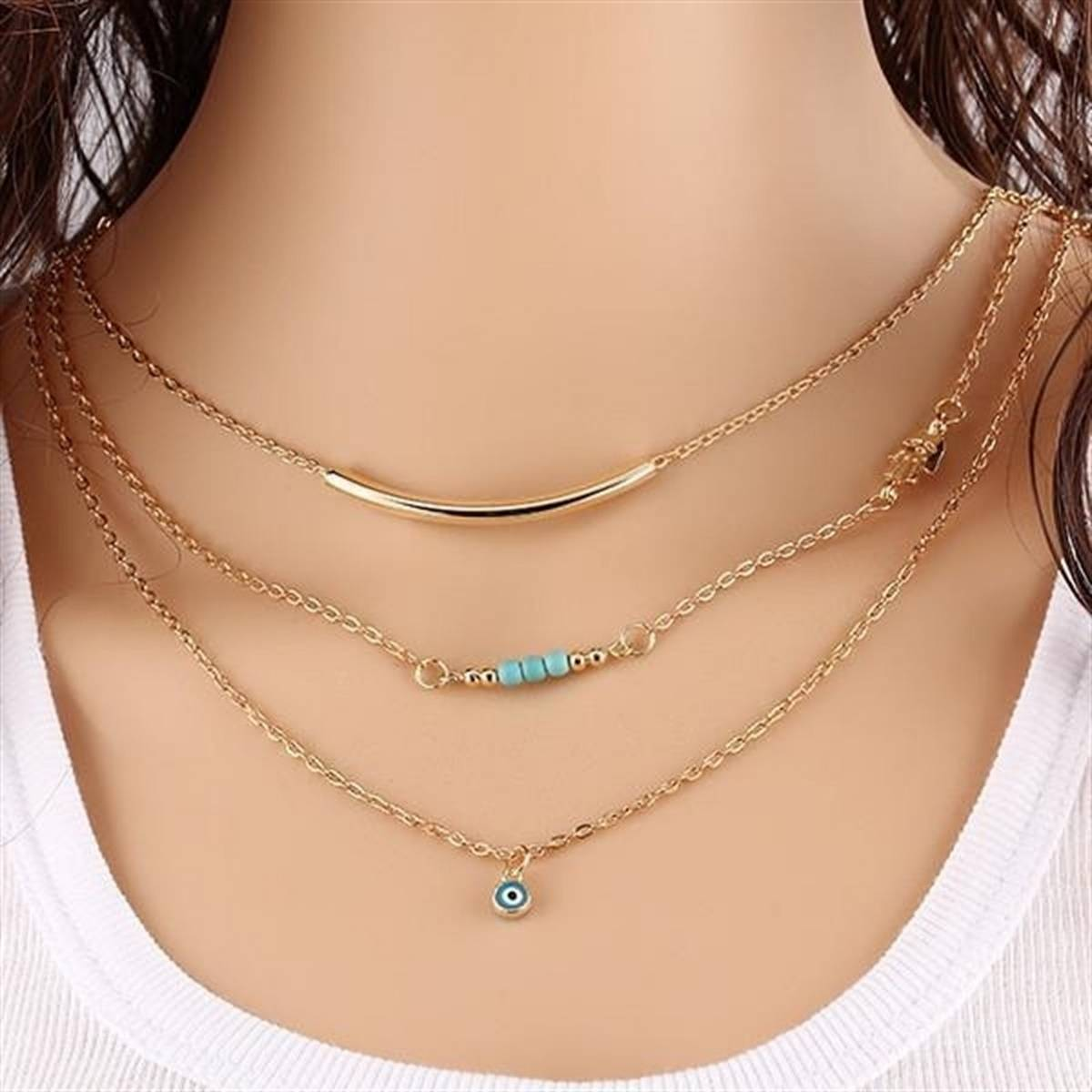 Vintage Korean Women's Fashion Necklace Stack Chain 3 Layers Jewelry