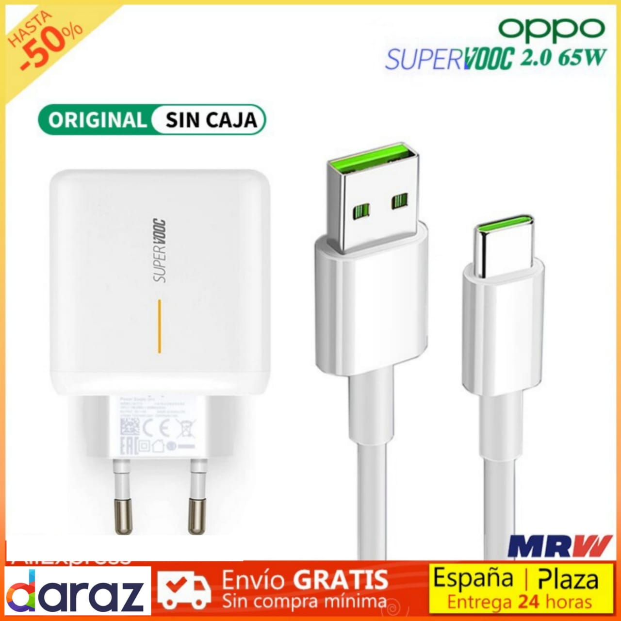 Original 65W Super VOOC Charger For Realme_ OPPO 5th Generation  VOOC Fast Charger 5V/4A Charging for Reno 10X Z K3 Find X R17 Pro Fast Adaptor with Type-C Data Line Cable Original Super VOOC Charger For Realme_ OPPO 5th Generation Original VOOC Fast