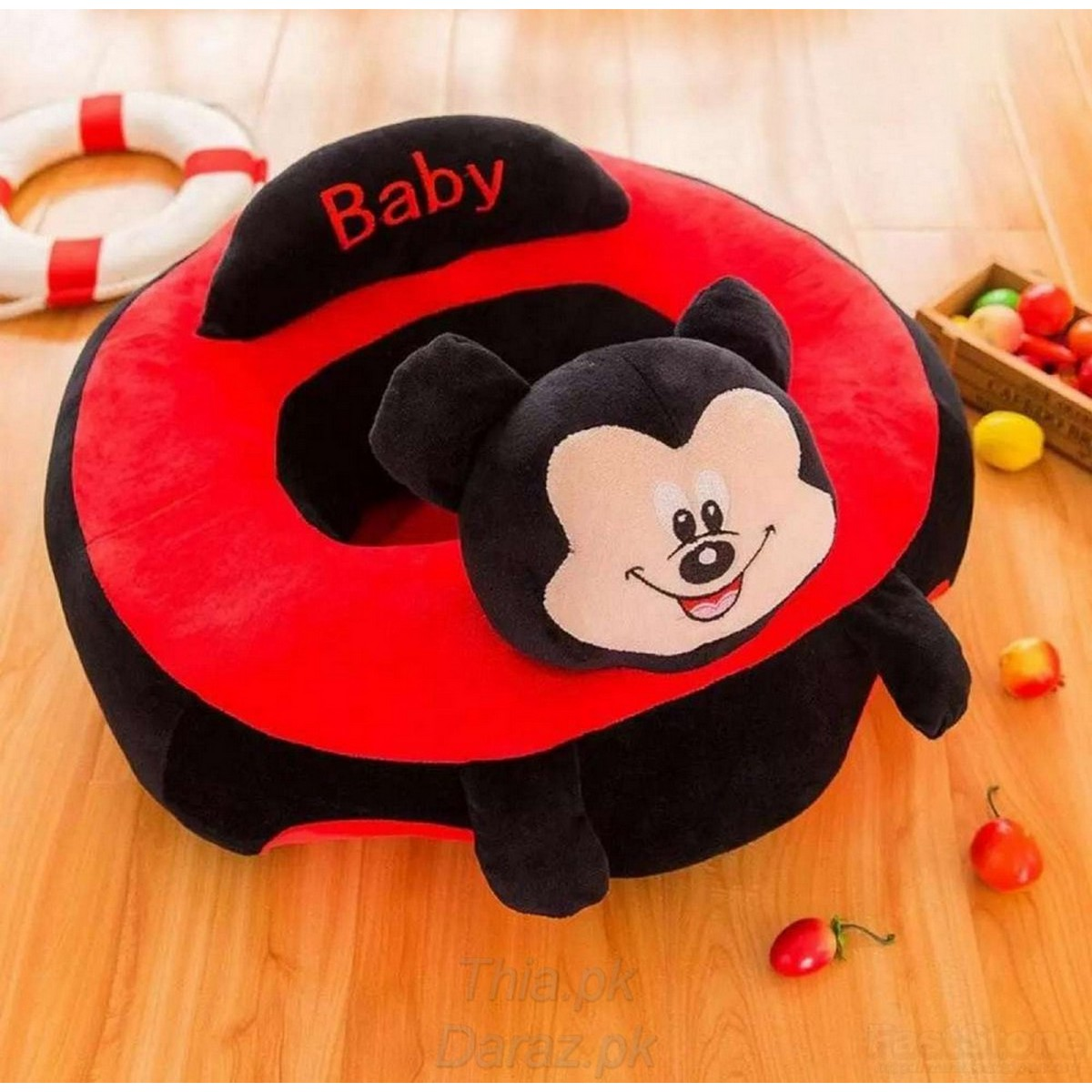 Best Quality Mickey Mouse Black Red Stuffed Plush Sofa Baby Seats Children Sofa Support Seat Learning Training Cushion Baby Carrier Seater Toddler Nest Puff Cartoon Minnie Mouse Chair Soft Babies Toys with 2 Holes for Legs For 3 - 12 Months(Black Red)