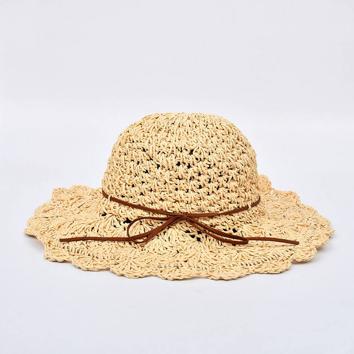Stylish Sun Hat Wide Casual Brimmed Floppy Folding Solid Summer & Spring Hat Beach Hat – Off White