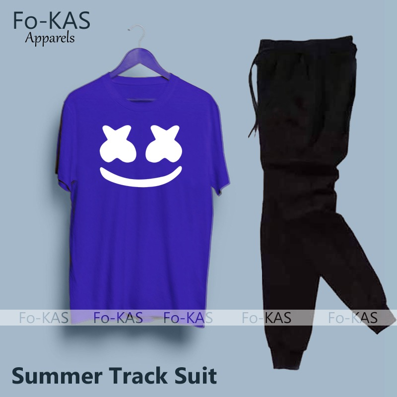 Marshmallow Printed Tracksuit Cotton Fabric T-Shirt & Trouser for Summer Elegant Track Suit for _Men Trendy Wear