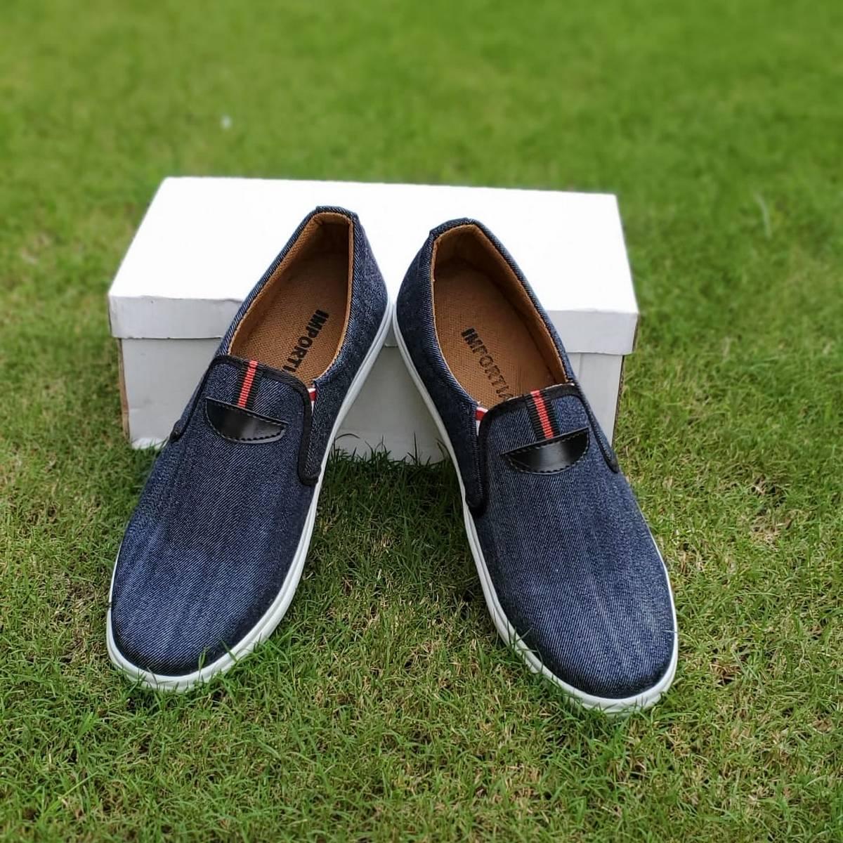 Men's Grey Colour Classic Heavy Denim Fabric Sneaker Shoes