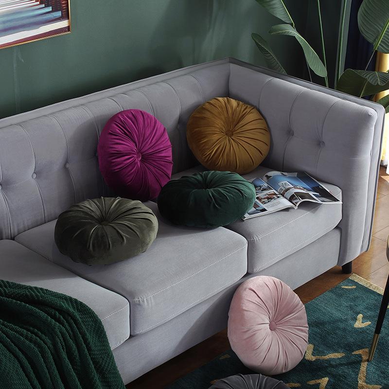 Velvet Round Pillow Comfortable Soft Home Decor Back Cushion 35.5CM In Diameter