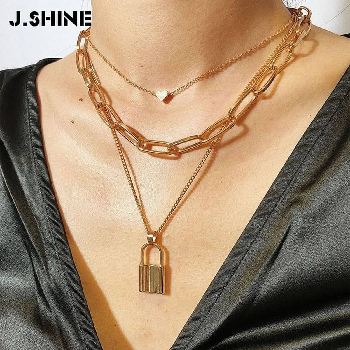 Locket multi Layer Lover Lock  Necklace Padlock golden  Chain Necklace Collier Best Jewelry Gift