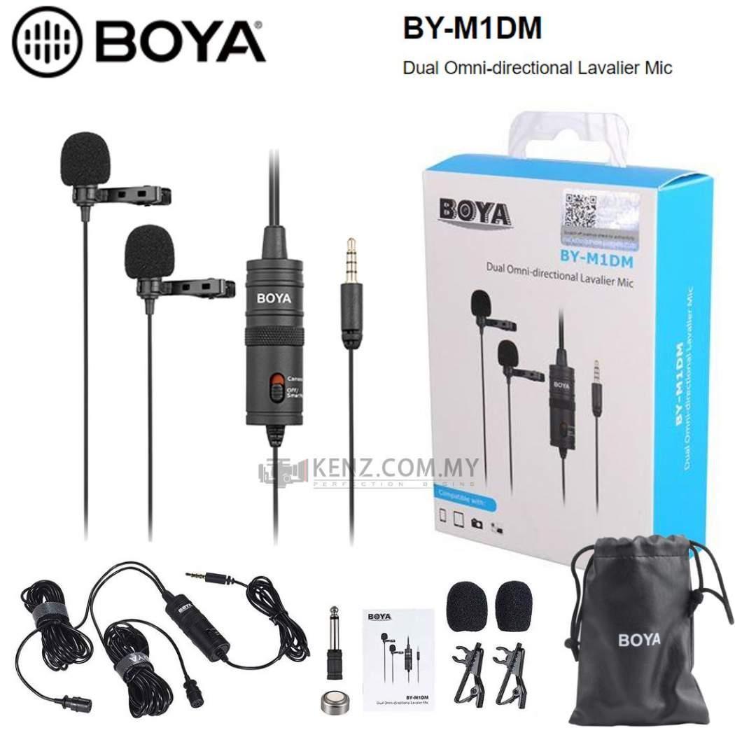 Boya BY-M1DM doble micrófono lavalier omnidireccional para cámaras DSLR Smartphone /&